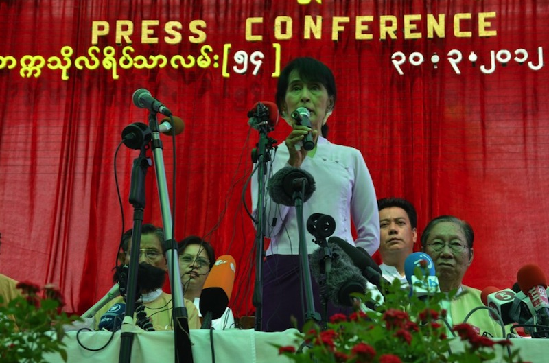Aung San Suu Kyi speaks at the  NLD ( National League for Democracy ) bi-election Press conference