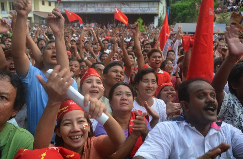 Crowds celebrate the NLD wins in the streets of Rangoon