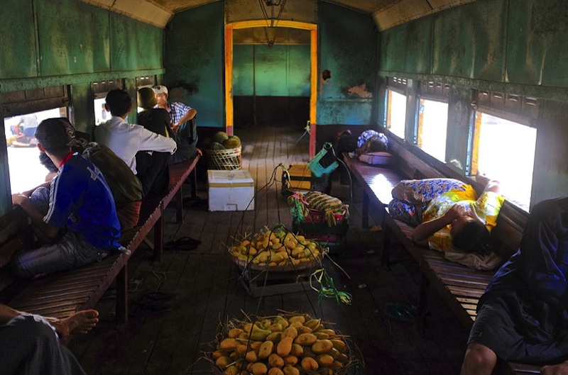 Myanmar train cabin