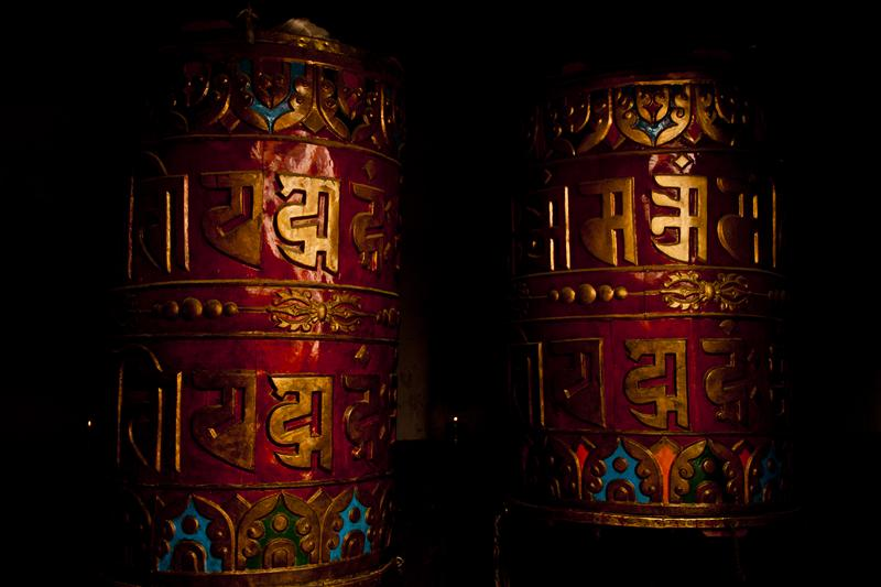 Tibetan Buddhist prayer wheels are almost every household in Upper Mustang