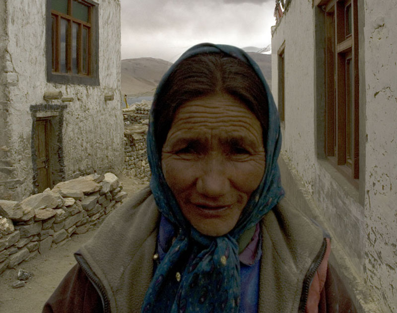 A Changpa woman in front of her ancestral home in Korzok