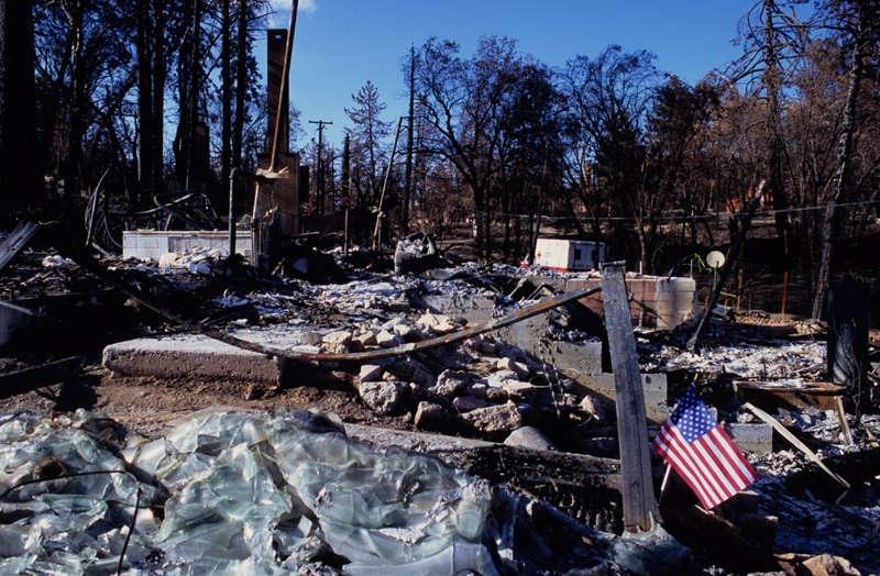 Stars and stripes, in the wake of destruction