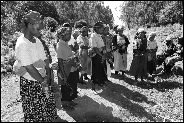 Women pray before they enter the forest to collect firewood.