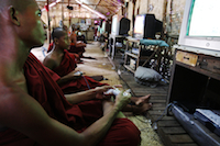 Playstation monks - Yangon (Burma)