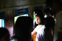 Student on her way to school - Yangon train