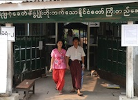 Voter leaving polling station, Rangoon Burma