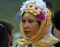 Young Gorani woman in traditional costumes.