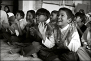 Children at an orphanage in Banda Aceh during the morning class