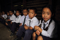 Innocent faces: at Som primary school, Dentam, West Sikkim