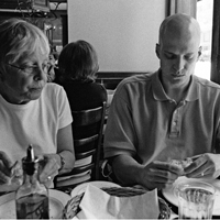 Steven and his mother having lunch after hearing that the stem cell transplant failed.