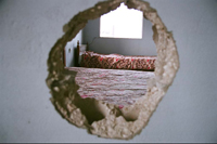 Bedroom Hole inside of a bombed house, Koleile, Lebanon